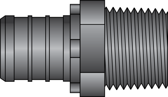 "Graphic of 3/4"" PEX × 1/2"" MNPT HPP Adapter"