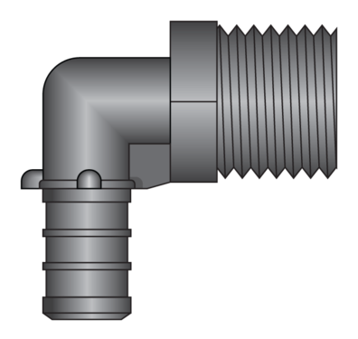 Graphic of Male Thread by PEX Elbow