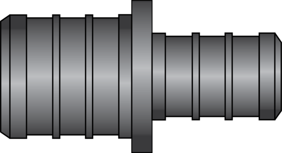"Graphic of 3/4"" × 1/2"" PEX HPP Coupling"