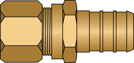 """Graphic of 1/2"""" PEX × 3/8"""" O.D. No Lead Brass Adapter"""