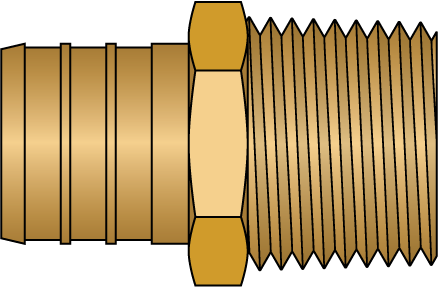"Graphic of 3/4"" PEX × 1/2"" MNPT No Lead Brass Adapter"