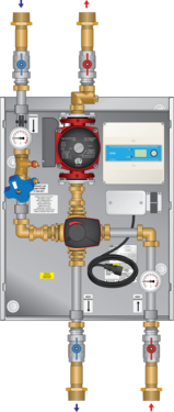 "Graphic of 4-Way Mixing Panel 1-1/4"" 26-150 Pump Snow Melt"