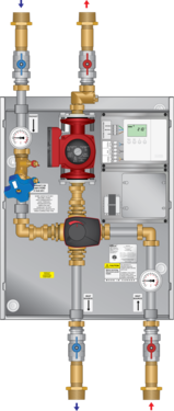 "Graphic of 4-Way Mixing Panel 1-1/4"" 26-99 Pump"