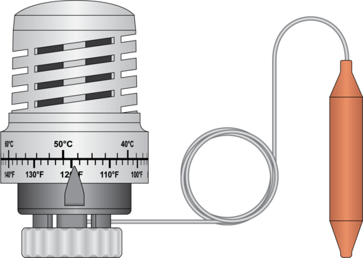 Graphic of Thermostatic Head with Capillary
