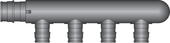 """Graphic of 4 Port, 3/4"""" PEX F1960 × Closed End HPP Multiport Tee"""