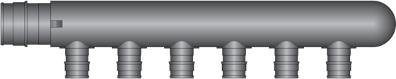 """Graphic of 6 Port, 1"""" PEX F1960 × Closed End HPP Multiport Tee"""