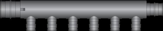 "Graphic of 6 Port, 1"" × 3/4"" PEX F1960 Flow Through HPP Multiport Tee"