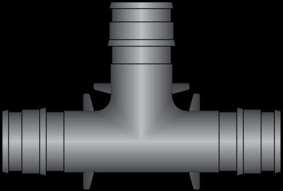 "Graphic of 1/2"" × 1/2"" × 1/2"" PEX F1960 HPP Tee"