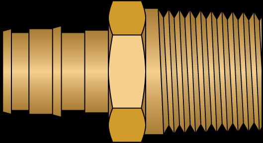 "Graphic of 1/2"" PEX F1960 × 1/2"" MNPT No Lead Brass Adapter"