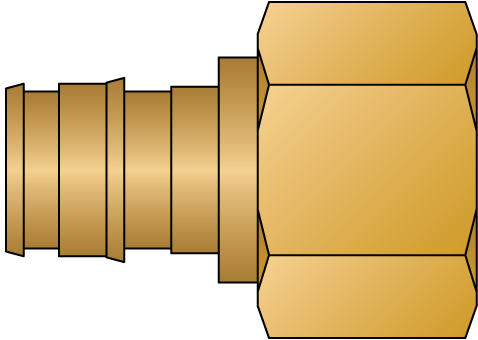 """Graphic of 1/2"""" PEX F1960 × 1/2"""" FNPT No Lead Brass Adapter"""