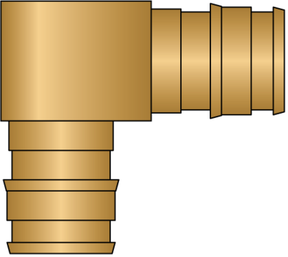 "Graphic of 1/2"" × 1/2"" PEX F1960 No Lead Brass Elbow"