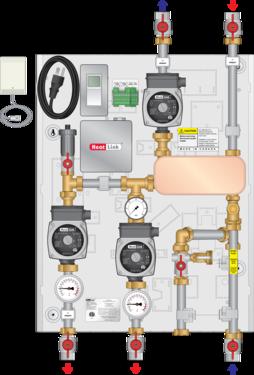 Graphic of HEP 80MBH Isolation Heat Exchange Panel Dual Pump w/Timer