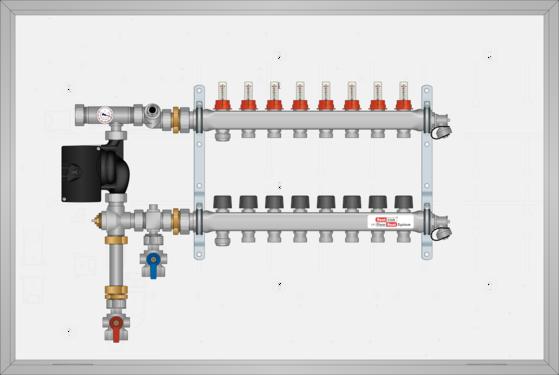 "SSTSS108B SST SURF MNT 8 Loop 1-1/4"" SS Man. Small Mixing Panel Bot. Feed"