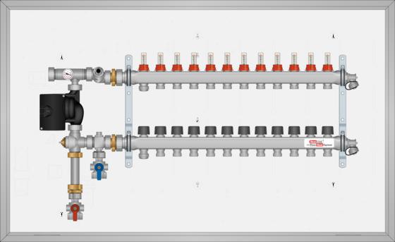 "SSTSS112B SST SURF MNT 12 Loop 1-1/4"" SS Man. Small Mixing Panel Bot. Feed"