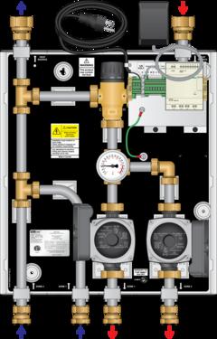 Graphic of TMP 85MBH Dual Pump 3-way Mixing panel