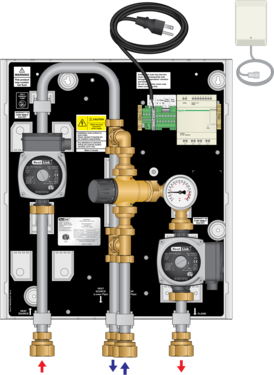 Graphic of TWH 70MBH Tankless Water Heater Mixing Panel