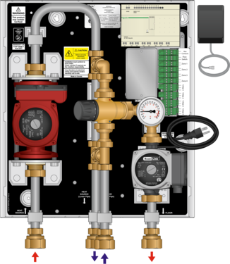 Graphic of TWH 70MBH High Head Tankless Water Heater Mixing Panel with Zoning
