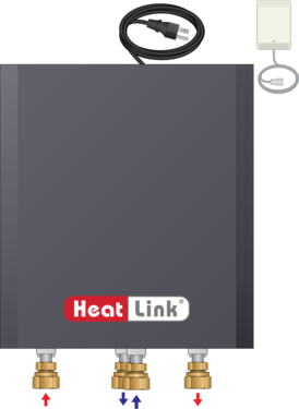 Graphic of TWH 70MBH HH Tankless Water Heater Mixing Panel with cover