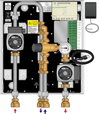 Graphic of TWH 70MBH Tankless Water Heater Mixing Panel with Zoning