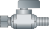 """Graphic of 1/2"""" PEX × 3/8"""" O.D. No Lead Brass Plated Straight Ball Valve"""