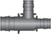 "Graphic of 3/4"" × 1/2"" × 1/2"" PEX F1960 HPP Tee"