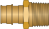 "Graphic of 3/4"" PEX F1960 × 3/4"" MNPT No Lead Brass Adapter"