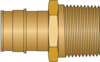 "1"" PEX F1960 × 1"" MNPT No Lead Brass Adapter"