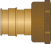 "Graphic of 1-1/4"" PEX F1960 × 1-1/4"" FNPT No Lead Brass Adapter"